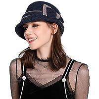 Fancet - Gorro de lana para mujer, estilo vintage de los años 20, para mujer, diseño de bolos