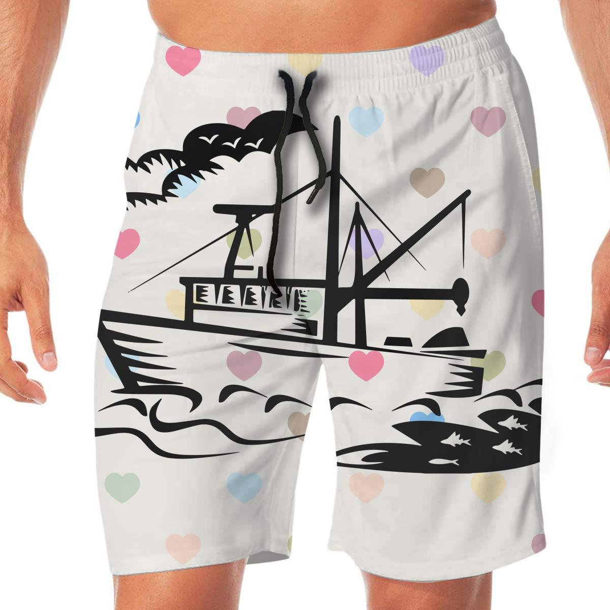 BEAQ45 Fishing Boat Mens Swim Trunks Household Pants Swimming Trunks
