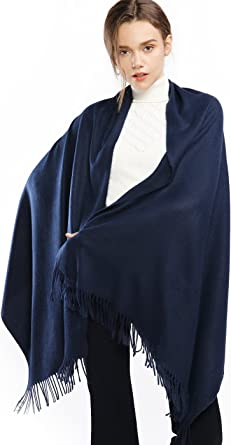 Winter Cashmere Wool Scarf Pashmina Shawl Wrap Stole for Women Feel Warm Thick Large Scarves Navy