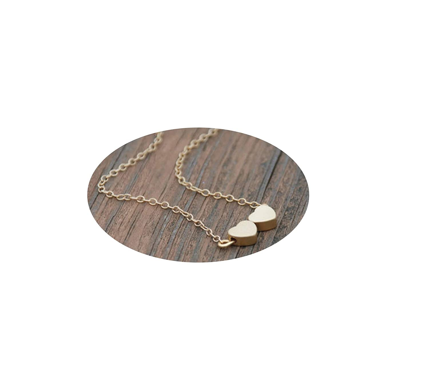 Epinki Gold Plated Bohemia Necklace Gold Heart Shape Chain Necklace for Women and Girls