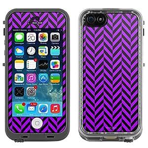 Skin Decal for LifeProof Apple iPhone 5C Case - Chevron Mini Purple Black
