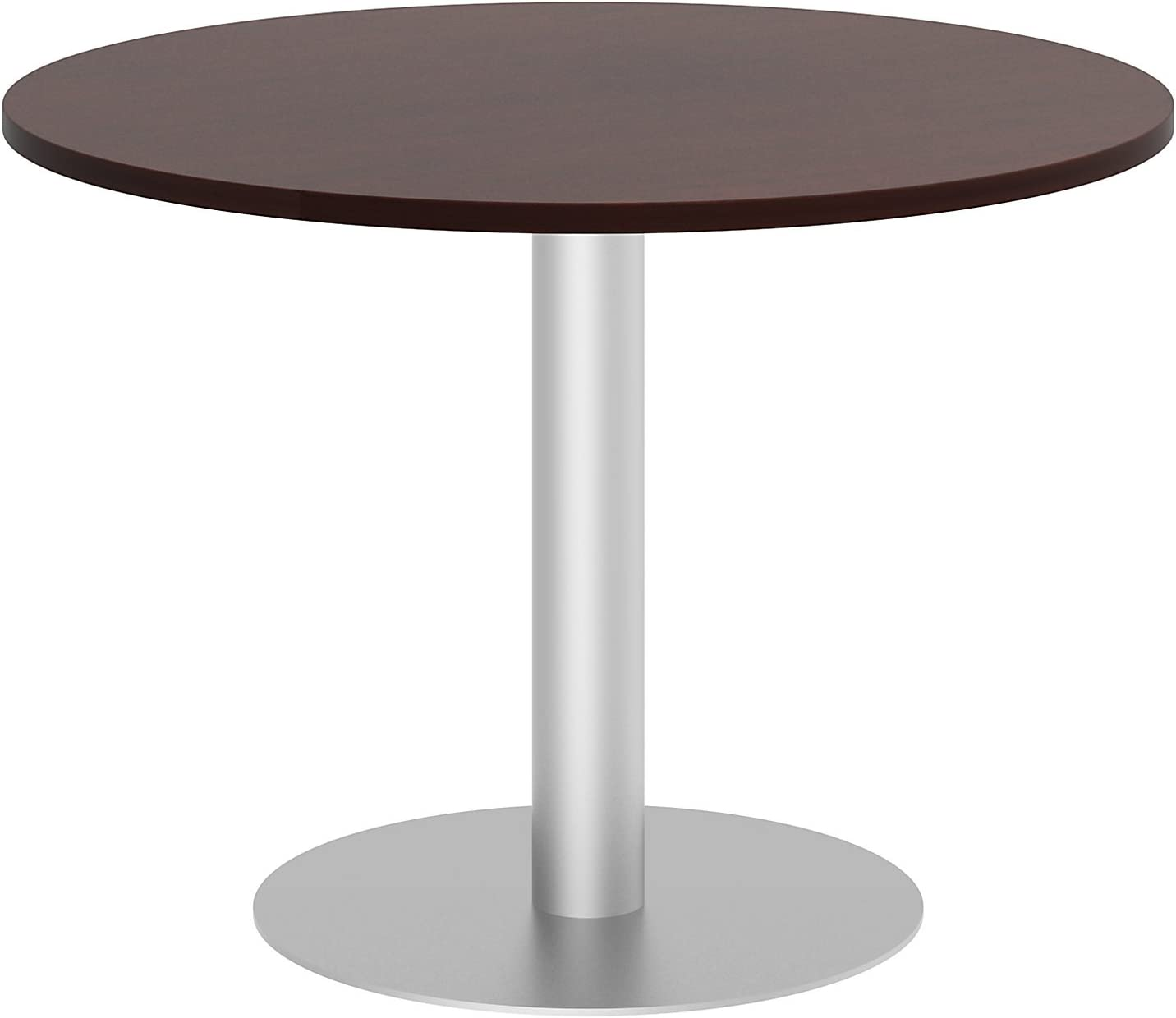 Bush Business Furniture 42W Round Conference Table with Metal Disc Base in Harvest Cherry