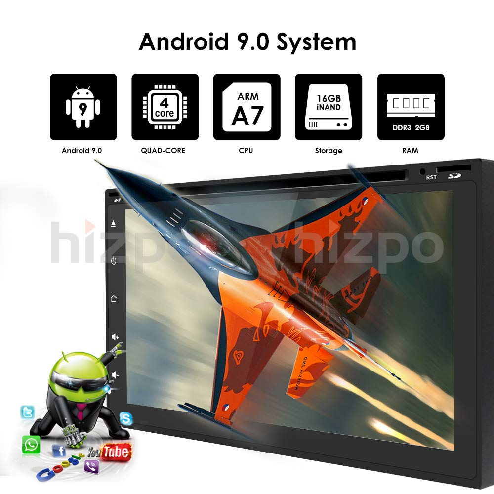 hizpo Universal 2 Din Car Auto Radio Android 9.0 Double Din DVD Player Head Unit with 7 inch Touch Screen Support GPS WiFi DAB Android iPhone Mirrolink Steering Wheel Control Free Camera
