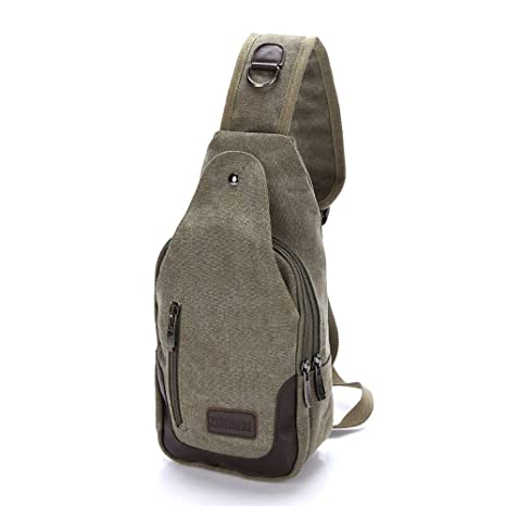 bb3fbddf310a Amazon.com: Backpack, Men's Canvas Chest Bag, Japanese and Korean ...