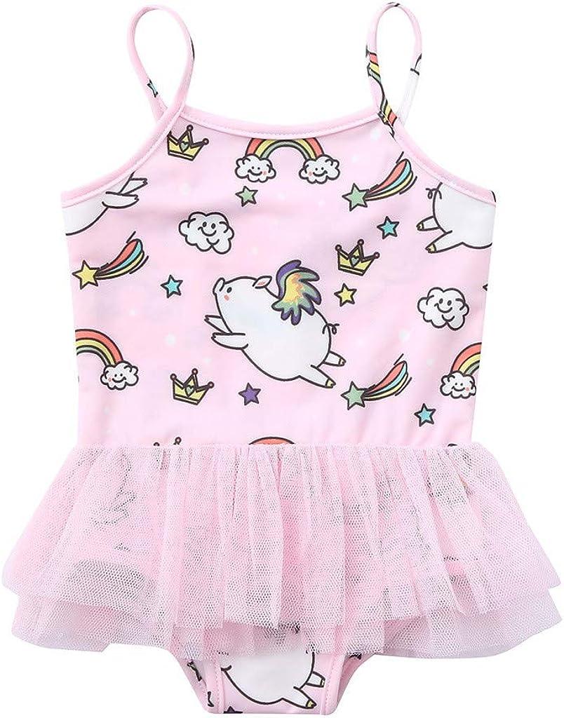 Mysky Toddler Baby Girl Swimsuit Kid Girl One Piece Swimwear Cute Swim Dress