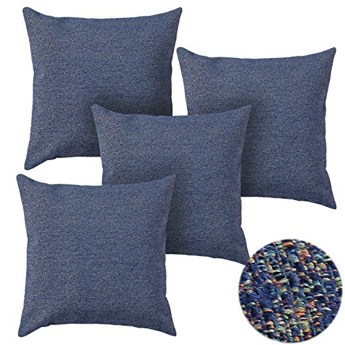 Deconovo 4 Pack Square Pillow Cushion Pillow Pillow Cases Decorative Cushions for Sofa 18 x 18 Inch Navy Blue (Navy Throws For Sofa)