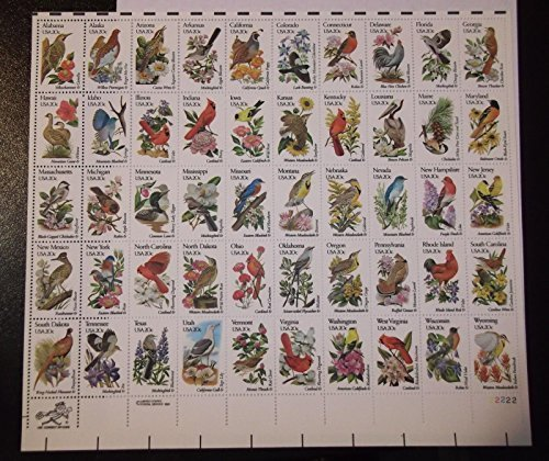 US State Birds and Flowers Full Sheet of Fifty 20 Cent Stamps Scott - 50 Sunglasses Cent