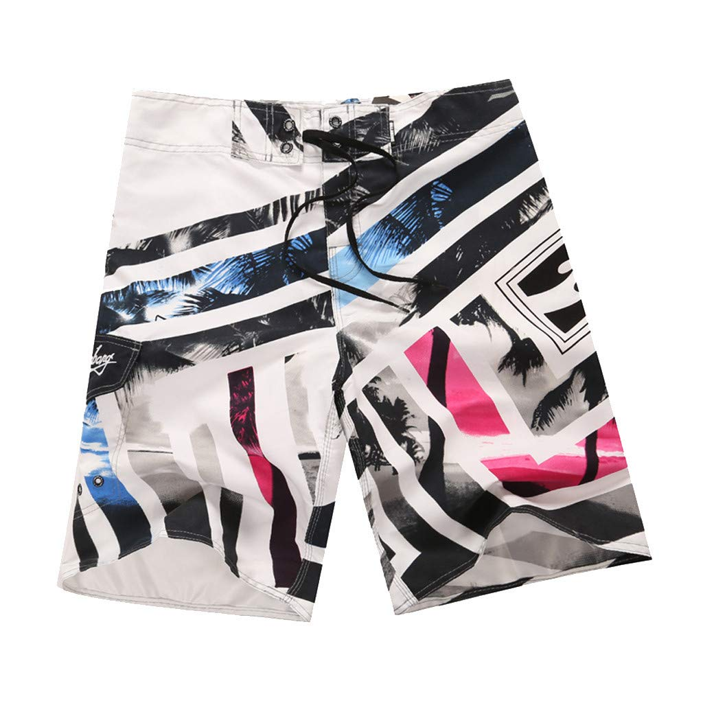 NUWFOR Men's Fashion Casual Printing Patchwork Beach Surfing Swimming Loose Short Pants(White,US S Waist:30.7'')