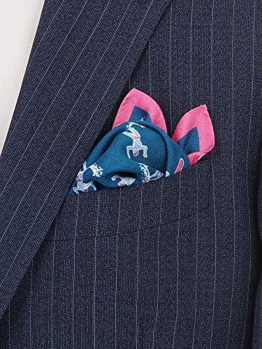 ADAMLEY/サーフプリント シルクポケットチーフ ブルー×ピンク×サックスブルー