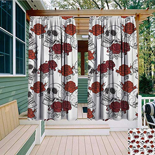 bybyhome Extra Wide Outdoor Curtain Ships Wheel Sailor Stripes Breton with Silhouettes of Ships Wheels Classic Artwork W84 xL96 Suitable for Front Porch,pergola,Cabana,Covered Patio -