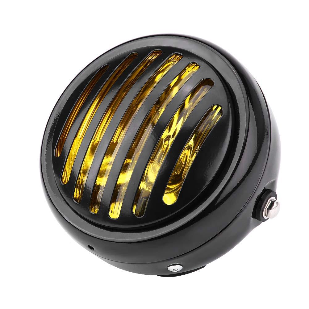 6.3 inch de Linterna de la motocicleta del vintage Vidrio amarillo negro universal Parrilla de faros estilo Amber Cafe Racer Bobber Chopper