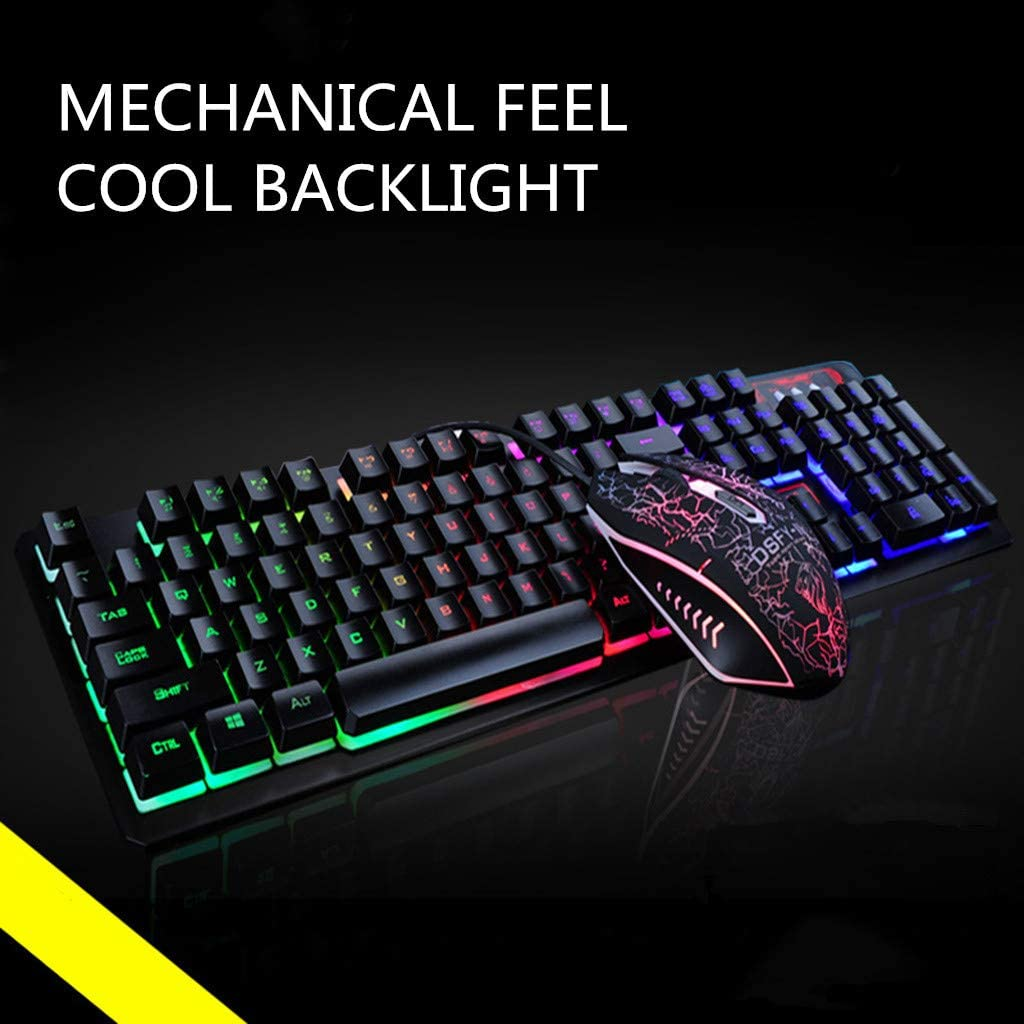 DAGE Gaming Keyboard and Mouse Set Multi-Colored LED Changing Rainbow Bundle Pack Wireless USB Wired Backlight Combo Black, 130x65x40mm