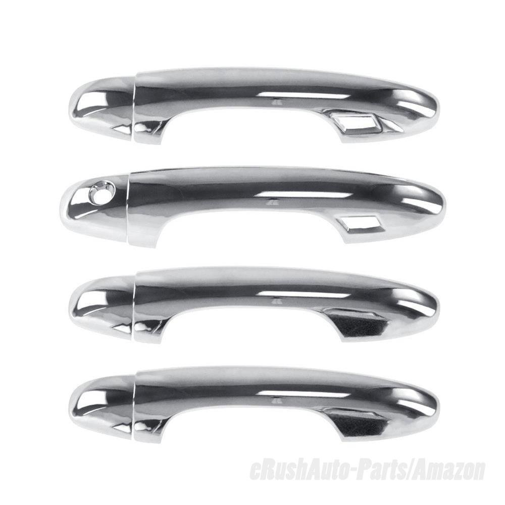 eRushAutoparts Ultra Chrome Door Handle Covers For 2016-2017 Toyota Tacoma with smart key cutout