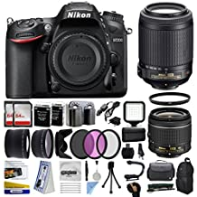 Nikon D7200 DSLR Digital Camera with 18-55mm VR + 55-200mm VR Lens + 128GB Memory + 2 Batteries + Charger + LED Video Light + Backpack + Case + Filters + Auxiliary Lenses + More!