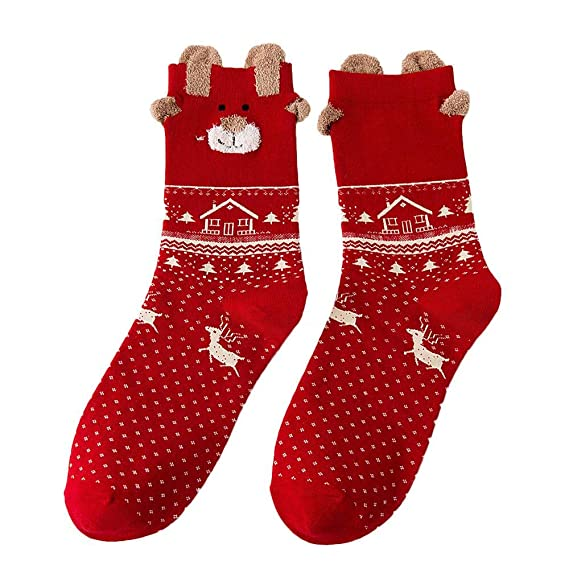 VJGOAL Mujer Otoño E Invierno Moda casual Lindo estampado de Navidad Algodón Calcetines Multicolor Medias de
