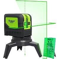 Huepar 9211G Niveau Laser Croix Vert avec 2 Points Laser, DIY Ligne Laser avec Fonction de Auto-nivellement et Inclinaison, Distance de Travail 15m, Support Magnétique et 2 Piles Incluse
