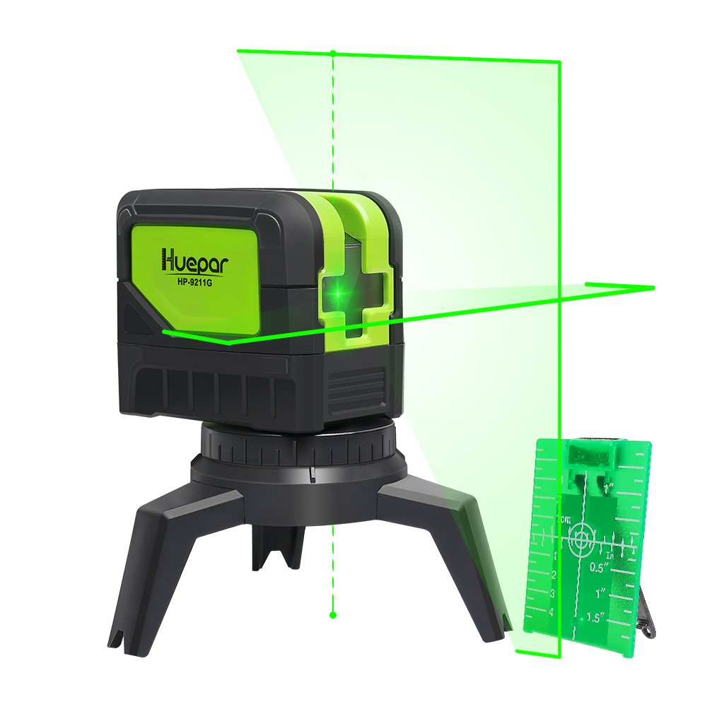 Cross Line Laser Level with 2 Plumb Dots - Huepar 9211G Green Beam Self Leveling 180-Degree Vertical Line and Horizontal Line with Plumb Points, Multi-Use Self-Leveling Alignment Laser Level
