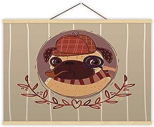 Hitecera Pug - Sherlock Holmes - Illustration Holmes,Wall Art Poster Dog for Bedroom 16X12In