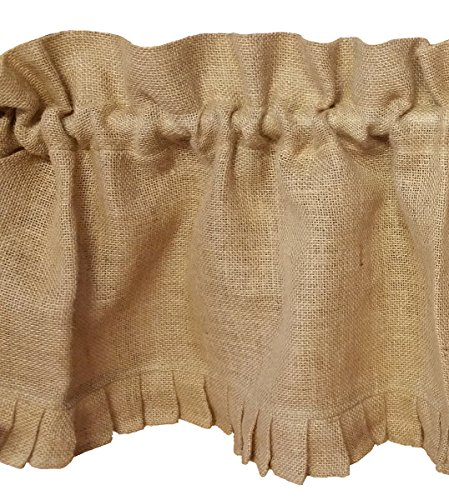 AT Primitive Country Burlap Ruffle Window Valance by AT