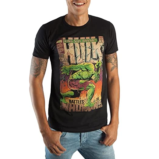 851a45806 Amazon.com: Vintage The Hulk Marvel Comic Book Cover Artwork Men's Black  Graphic Print Boxed Cotton T-Shirt: Clothing
