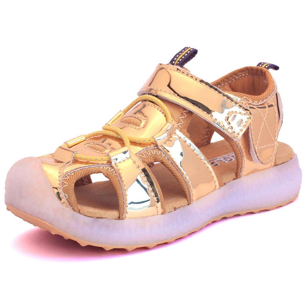 edv0d2v266 Kids Boys Girls USB Children LED Sandle Shoes with Light Glowing Luminous Sneakers(Gold 11.5 M US Little Kid) by edv0d2v266 (Image #1)