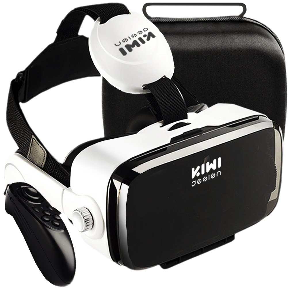 VR Virtual Reality Headset with Trigger / Headphone / Remote Controller and Hard Travel Storage Bag Fit for iPhone Android and Microsoft Smartphone