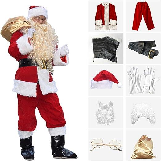 FAFY Navidad Espesar Disfraz De Papa Noel, Deluxe Velour Juego De ...