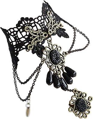 Punk Victorian Black Gem Lace Chain Pendant Gothic Lolita Choker Necklace