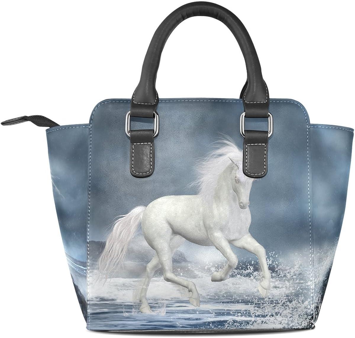 Jennifer PU Leather Top-Handle Handbags White Unicorn Running Over Sea Single-Shoulder Tote Crossbody Bag Messenger Bags For Women