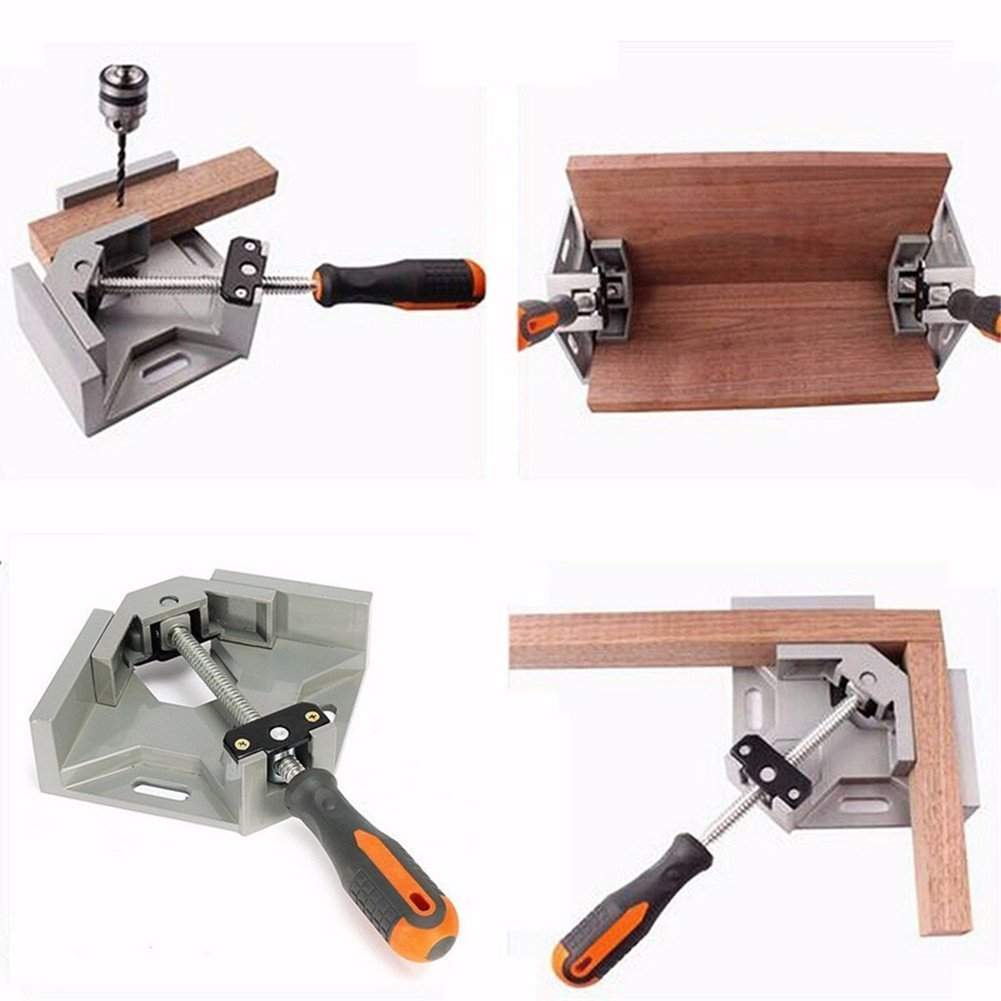 Right Angle Clamp, 90° Aluminum Alloy Corner Clamp, Adjustable Swing Jaw Vise Tool for Woodworking Photo Frame Welding Doweling Cabinet Frame Single Handle