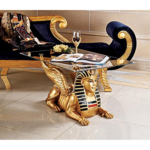 - Design Toscano Egyptian Sphinx Glass Topped Sculptural Table in Faux Gold and Egyptian Palette