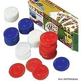 Plastic Poker Chips Red White Blue Pack of 100