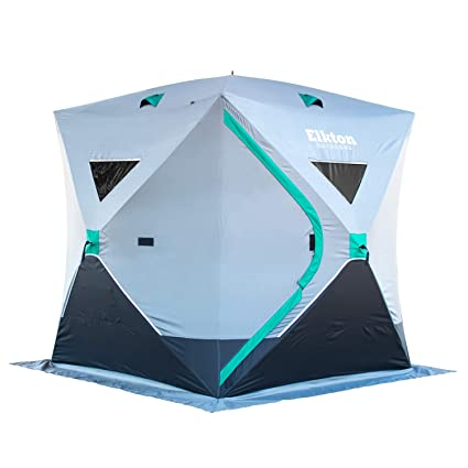 Elkton Outdoors Portable 3 4 Person Ice Fishing Tent With Ventilation  Windows U0026 Carry Pack