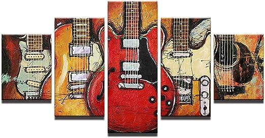 5 Piezas - Pintura decorativa para guitarra, Impresión en lienzo ...
