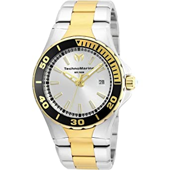 Technomarine Mens Sea Manta Quartz Stainless Steel Casual Watch, Color:Two Tone