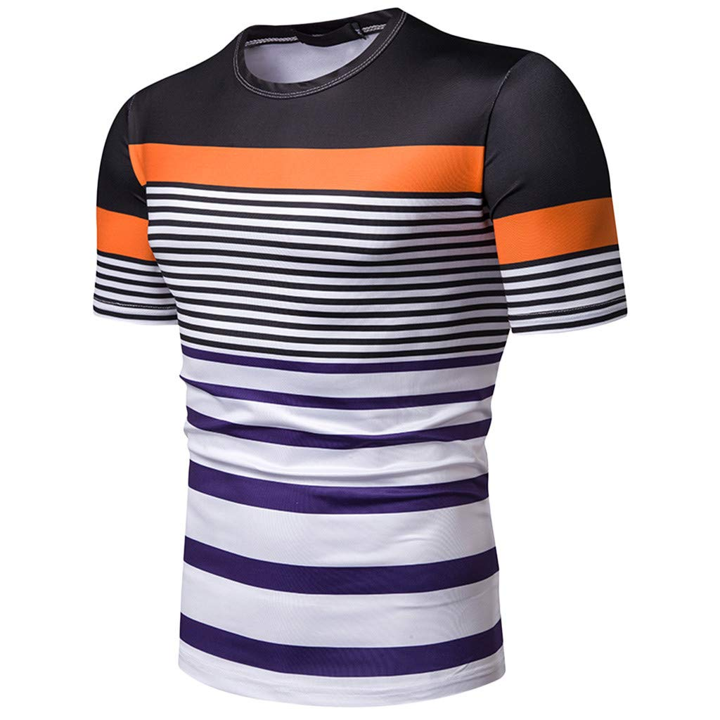 Tiitstoy Men/'s Fashion Casual T-Shirt Short Sleeve Contrast Color Stripe Painting Tee Shirts Large Size Slim Blouse Tops