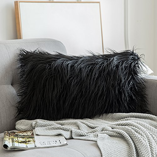 MIULEE Decorative New Luxury Series Style Black Faux Fur Throw Pillow Case Cushion Cover for Sofa Bedroom Car 12 x 20 Inch 30 x 50 cm