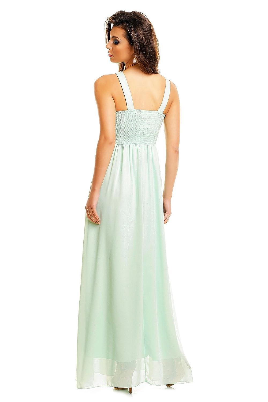 5520439e5de52 Langes Abendkleid mit Spitze und Steinchen Abiballkleid Cocktail Empire  Kleid: Amazon.de: Bekleidung