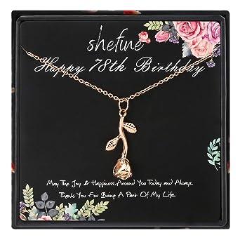 shefine Collar de rosa de acero inoxidable para mujer ...