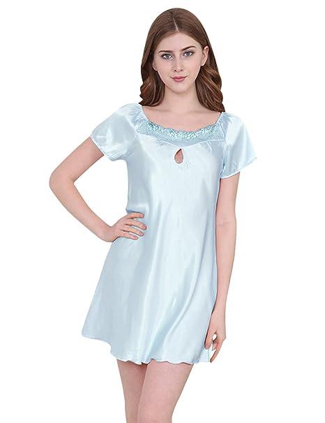 Menschwear Mujer Camisas de Dormir Camisas de Noche de Satén Chemises Camisas Serie Pijamas (XS