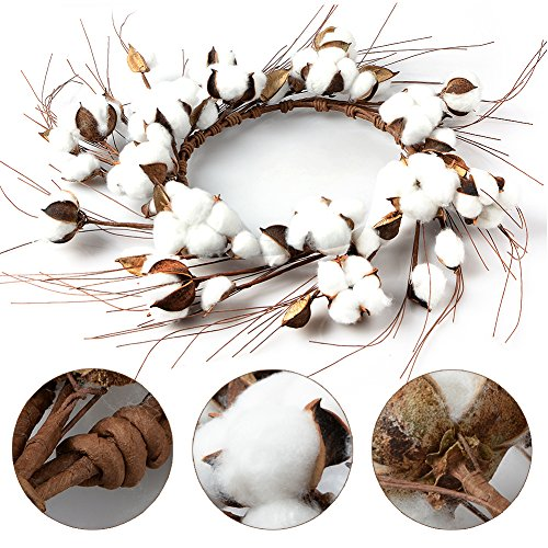 Alapaste Cotton Wreath Farmhouse Style Vintage Wreath Wall Hanging,Welcome Home Decor Floral Artificial Wreath Bouquet for Front Door, Wall, Hallway Entryway