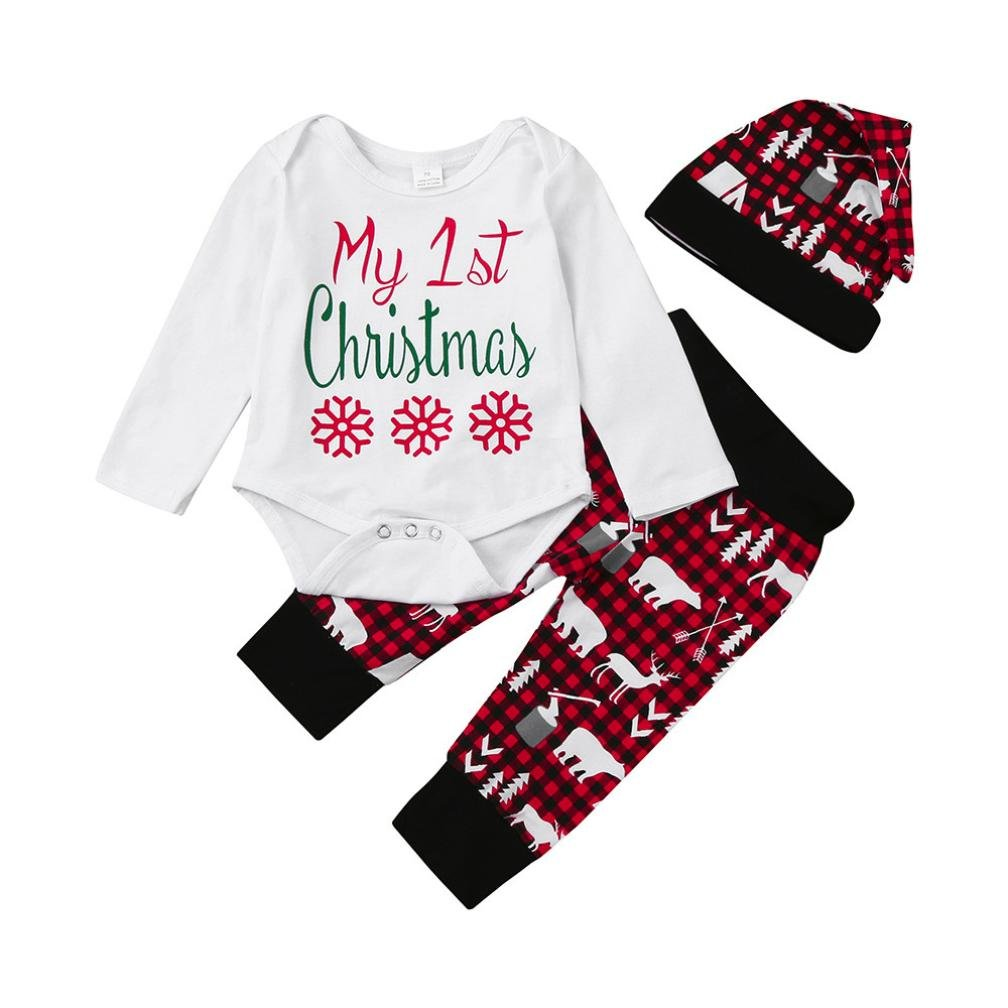 Iuhan Infant Baby Boy Girl My 1st Christmas Letter Romper Tops+Pants+Hat Outfits Set