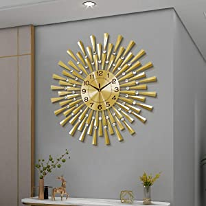 Fleble Large Wall Clocks for Living Room Decor 23.6 inch Gold Clock Battery Operated Silent with Dazzling Crystal 3D Home Decorative for Bedroom,Office,Kitchen