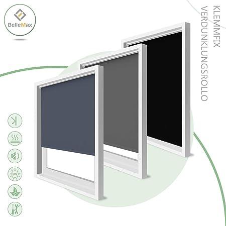 BelleMax Rollo ohne Bohren Verdunklungsrollo Klemmfix Lichtundurchlässig und Lichtdicht Thermorollo für Fenster und Tür 50 x