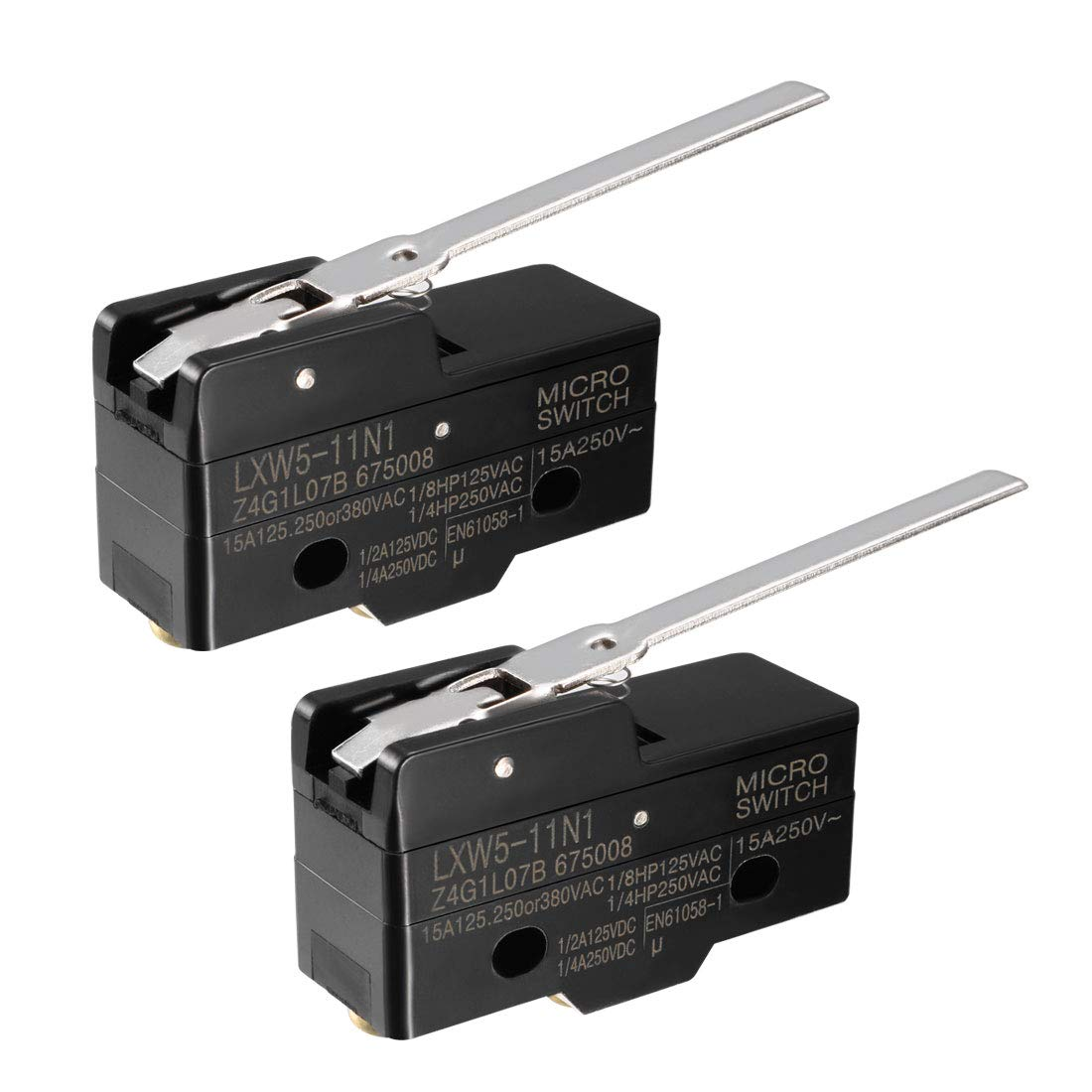 uxcell 3PCS LXW5-11D1 1NO 1NC Short Reed Snap Button Lever Type Micro Limit Switches