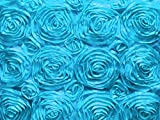 Zen Creative Designs Satin Rosette Floral Fabric 54 Inch Wide / Fancy Pattern Fabric / Floral Rose Fabric / Craft & Sewing Material (10 Yards, Turquoise)