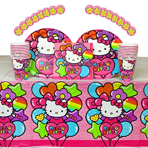 Hello Kitty Birthday Party Supplies Pack for 16 Guests | Stickers, 16 Dinner Plates, 16 Luncheon Napkins, 16 Cups, and Table Cover | Have The Best Hello Kitty Party With This Rainbow Party Set!]()