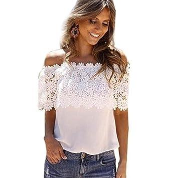 cde9336cd4007c Damen Sexy T-Shirt , Btruely Aus Schulter Beiläufig Tops Bluse Spitze  Häkeln Chiffon Hemd