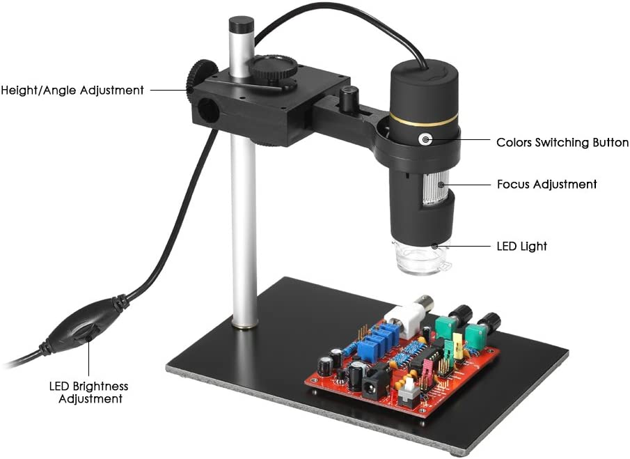 Durable 1000X Magnification 8-LED USB Digital Miniscope with Stand