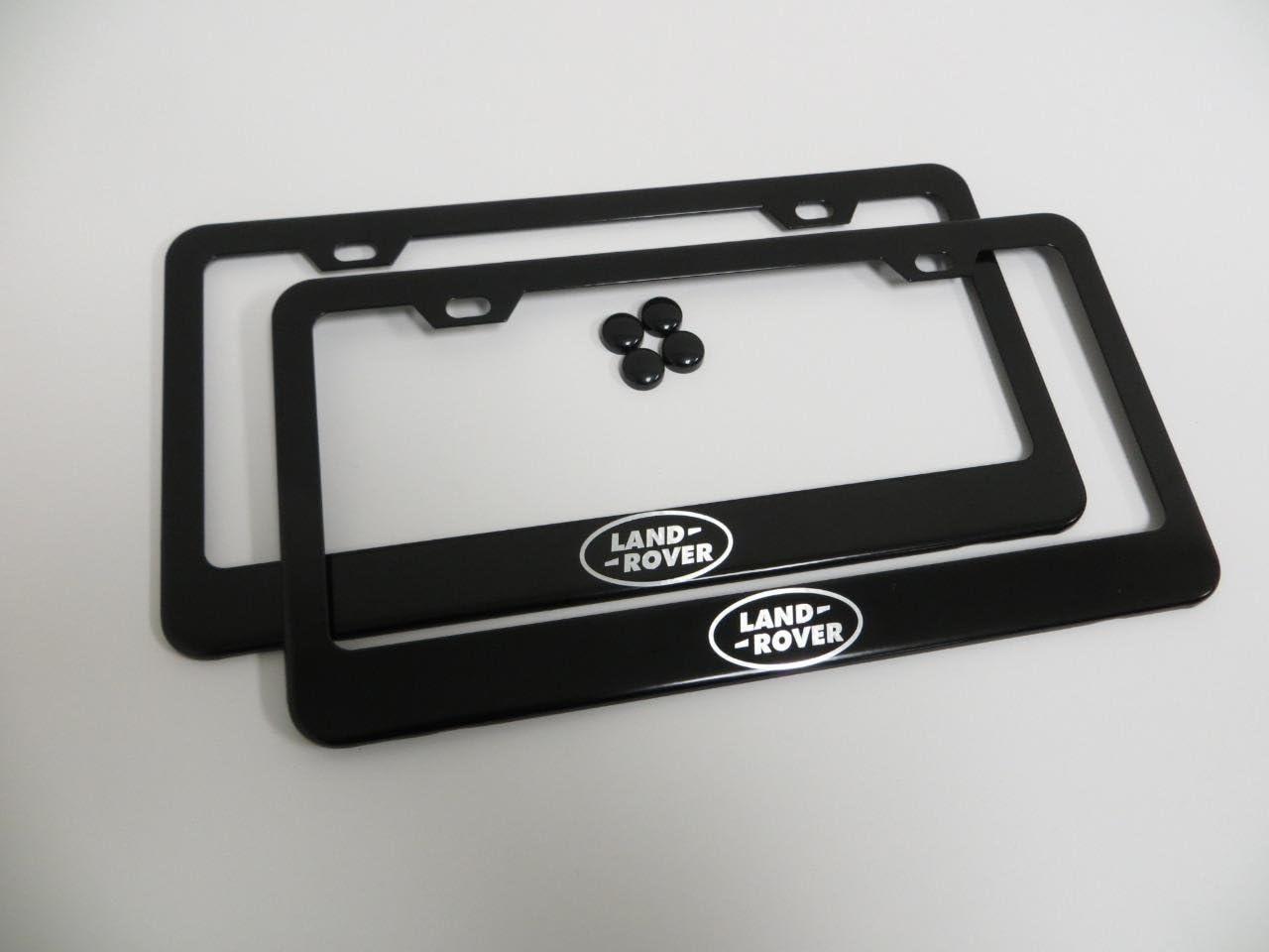 LANDROVER *LOGO* BLACK Metal License Plate Frame Tag Holder with Caps